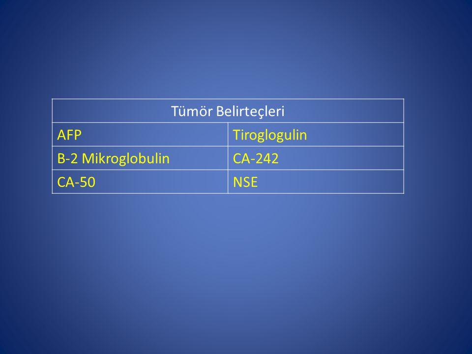 Tümör Belirteçleri AFP Tiroglogulin Β-2 Mikroglobulin CA-242 CA-50 NSE