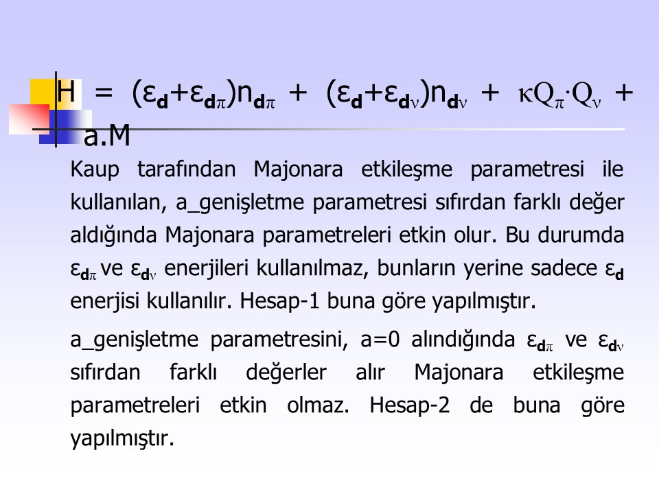 H = (εd+εdπ)ndπ + (εd+εdν)ndν + κQπ·Qν + a.M