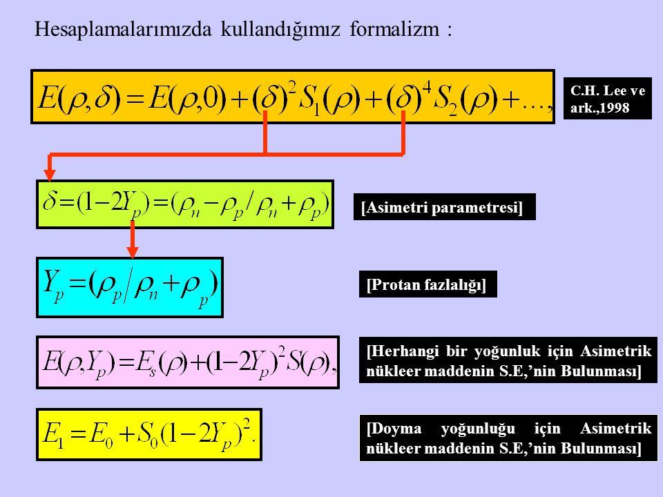 Hesaplamalarımızda kullandığımız formalizm :