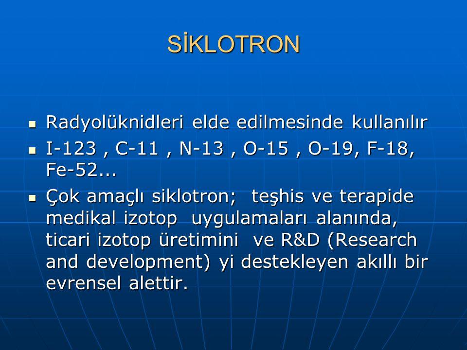 SİKLOTRON Radyolüknidleri elde edilmesinde kullanılır
