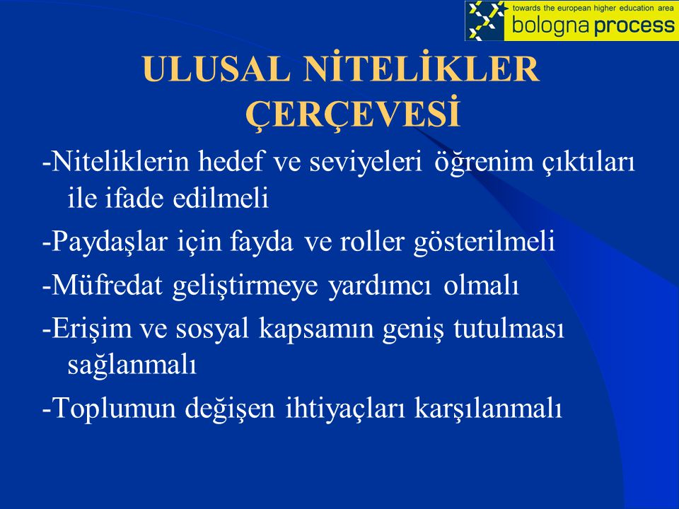 ULUSAL NİTELİKLER ÇERÇEVESİ