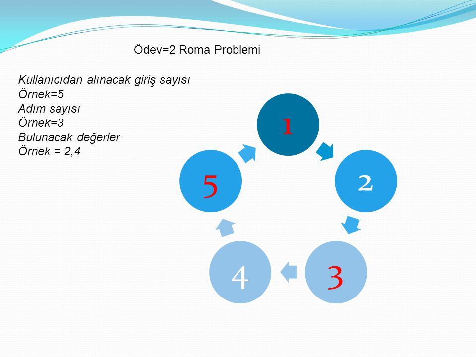 Kullanıcıdan alınacak giriş sayısı Örnek=5 Adım sayısı Örnek=3