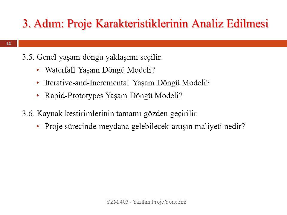 3. Adım: Proje Karakteristiklerinin Analiz Edilmesi