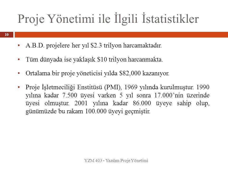 Proje Yönetimi ile İlgili İstatistikler