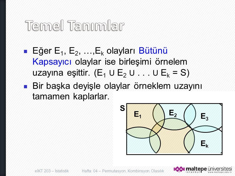 Temel Tanımlar Eğer E1, E2, …,Ek olayları Bütünü Kapsayıcı olaylar ise birleşimi örnelem uzayına eşittir. (E1 U E2 U . . . U Ek = S)