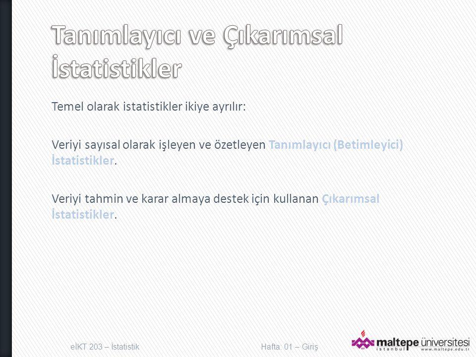 Tanımlayıcı ve Çıkarımsal İstatistikler