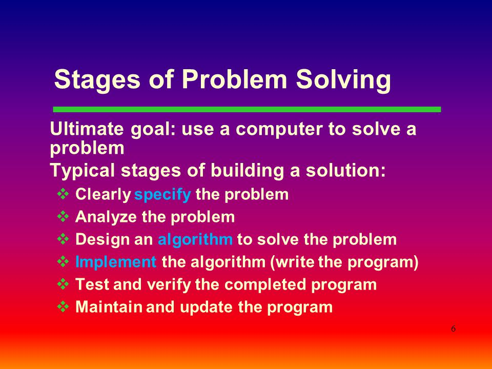 Stages of Problem Solving