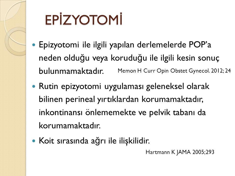 EPİZYOTOMİ Epizyotomi ile ilgili yapılan derlemelerde POP'a neden olduğu veya koruduğu ile ilgili kesin sonuç bulunmamaktadır.