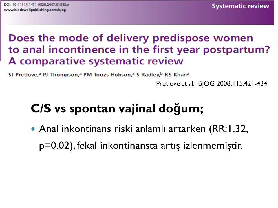 C/S vs spontan vajinal doğum;