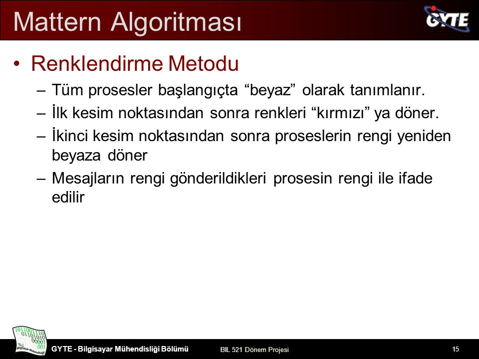 Mattern Algoritması Renklendirme Metodu