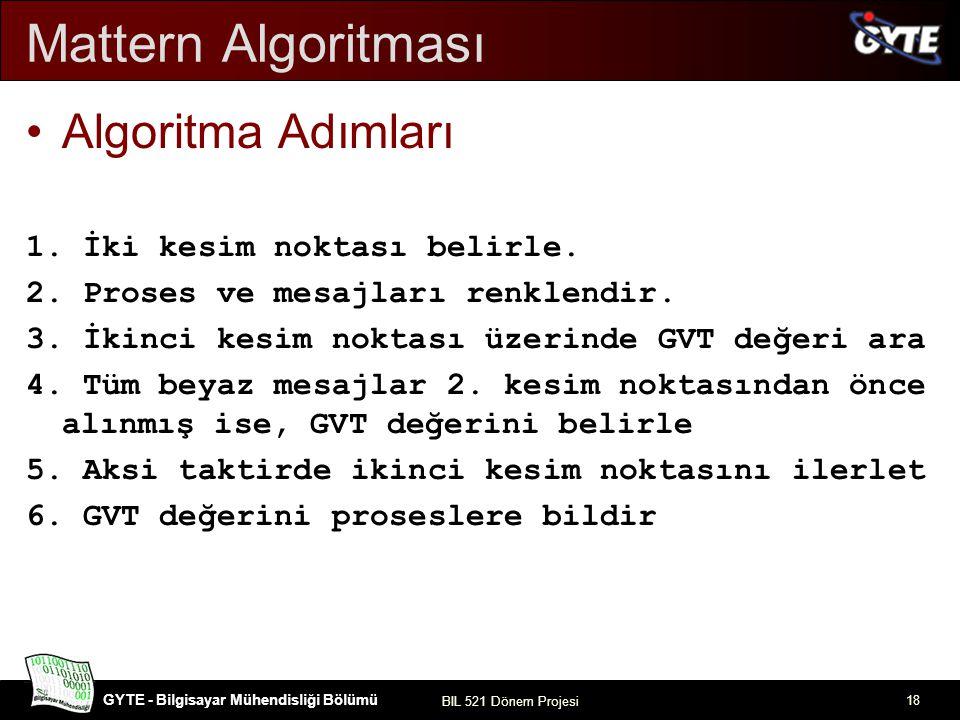 Mattern Algoritması Algoritma Adımları 1. İki kesim noktası belirle.