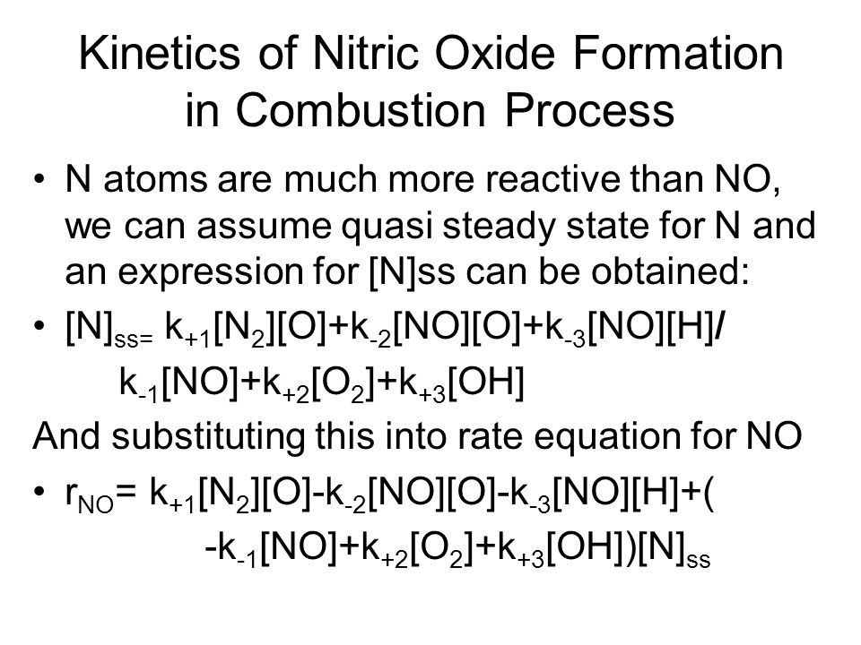 Kinetics of Nitric Oxide Formation in Combustion Process