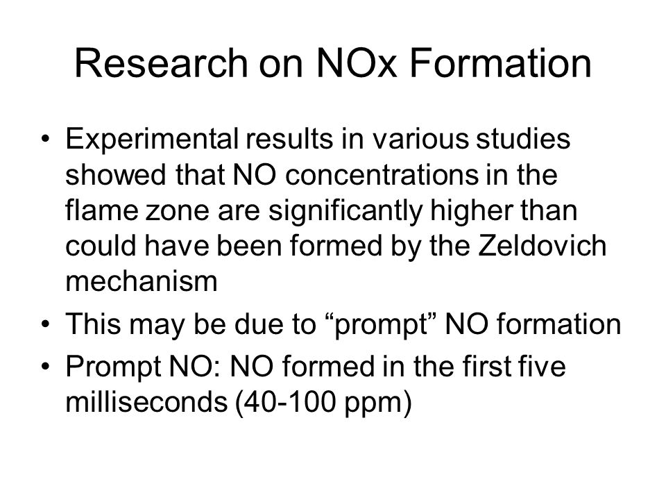 Research on NOx Formation
