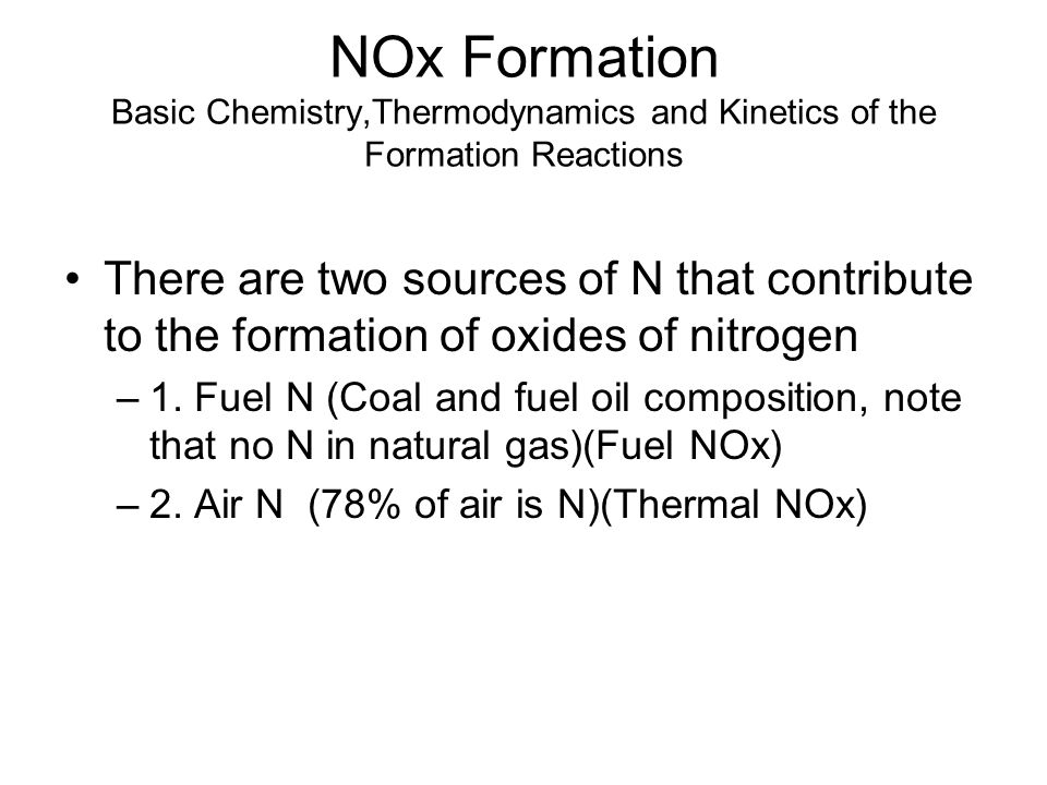 NOx Formation Basic Chemistry,Thermodynamics and Kinetics of the Formation Reactions