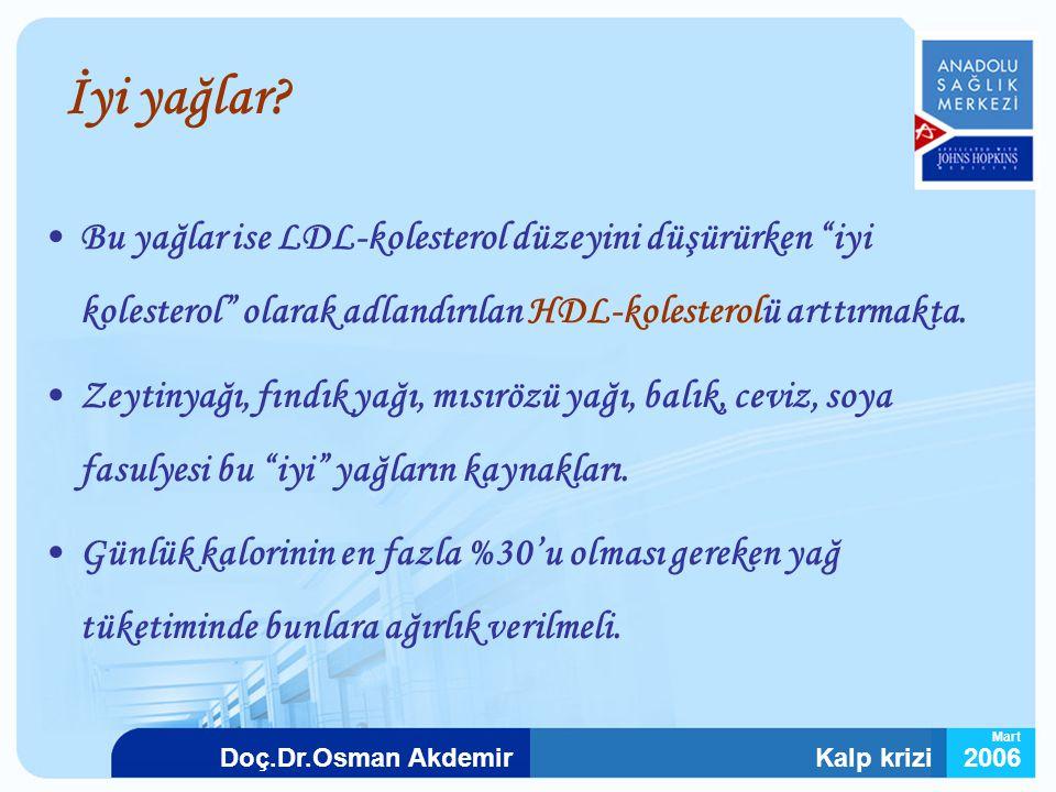 İyi yağlar Bu yağlar ise LDL-kolesterol düzeyini düşürürken iyi kolesterol olarak adlandırılan HDL-kolesterolü arttırmakta.