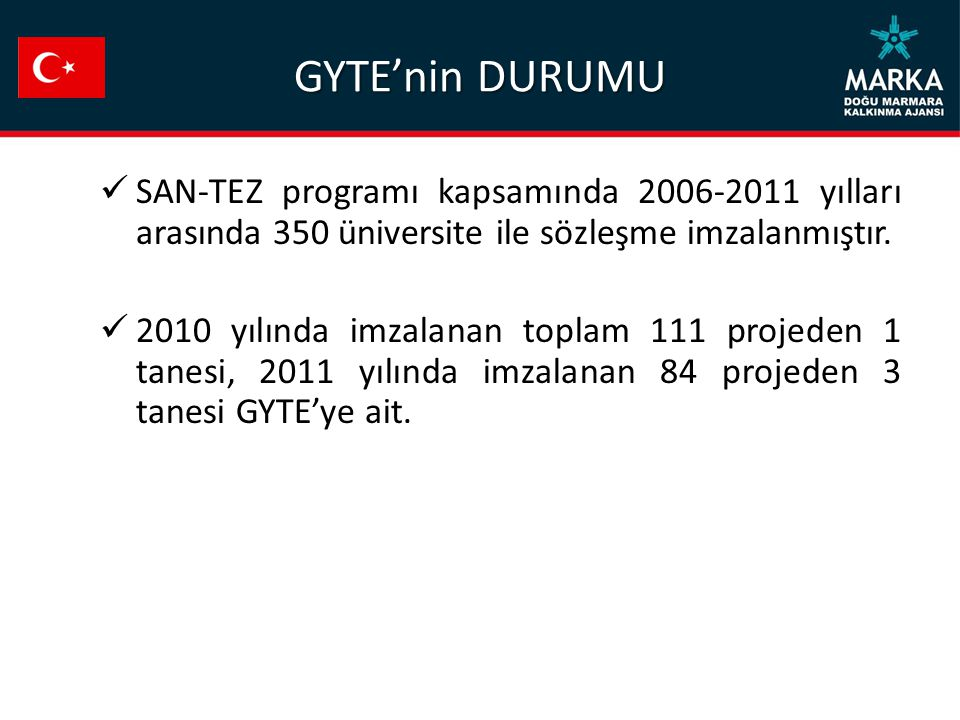 GYTE'nin DURUMU SAN-TEZ programı kapsamında 2006-2011 yılları arasında 350 üniversite ile sözleşme imzalanmıştır.