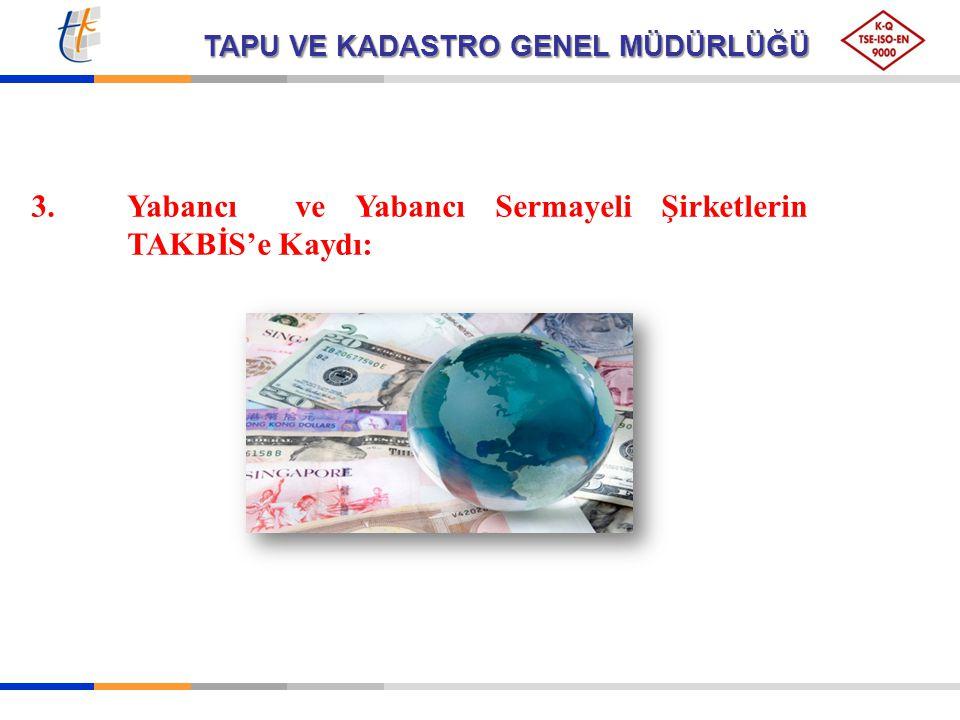 3. Yabancı ve Yabancı Sermayeli Şirketlerin TAKBİS'e Kaydı: