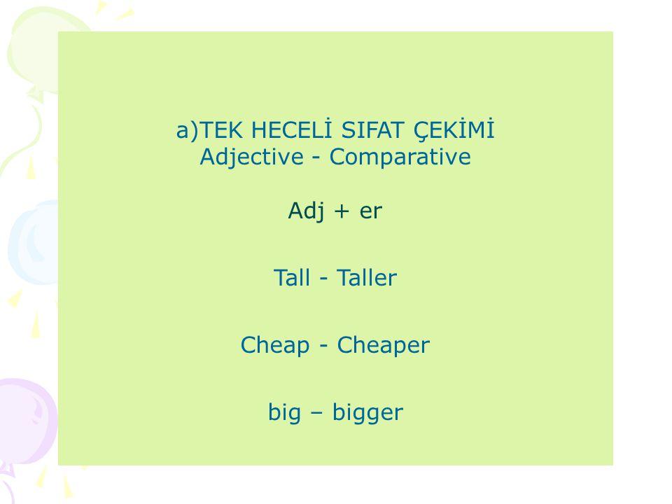 a)TEK HECELİ SIFAT ÇEKİMİ Adjective - Comparative Adj + er