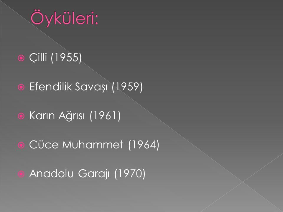 Öyküleri: Çilli (1955) Efendilik Savaşı (1959) Karın Ağrısı (1961)