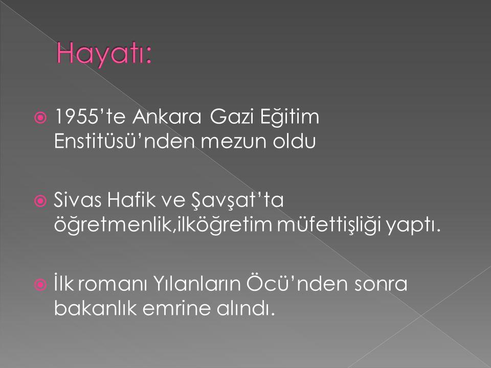 Hayatı: 1955'te Ankara Gazi Eğitim Enstitüsü'nden mezun oldu