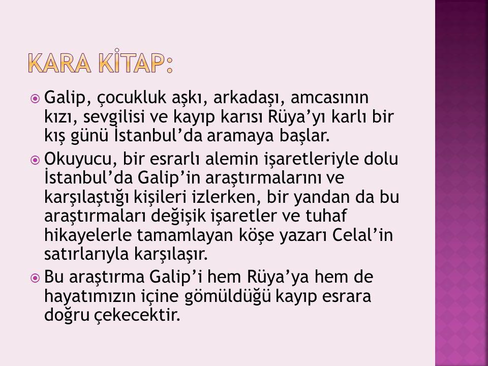 KARA KİTAP: Galip, çocukluk aşkı, arkadaşı, amcasının kızı, sevgilisi ve kayıp karısı Rüya'yı karlı bir kış günü İstanbul'da aramaya başlar.