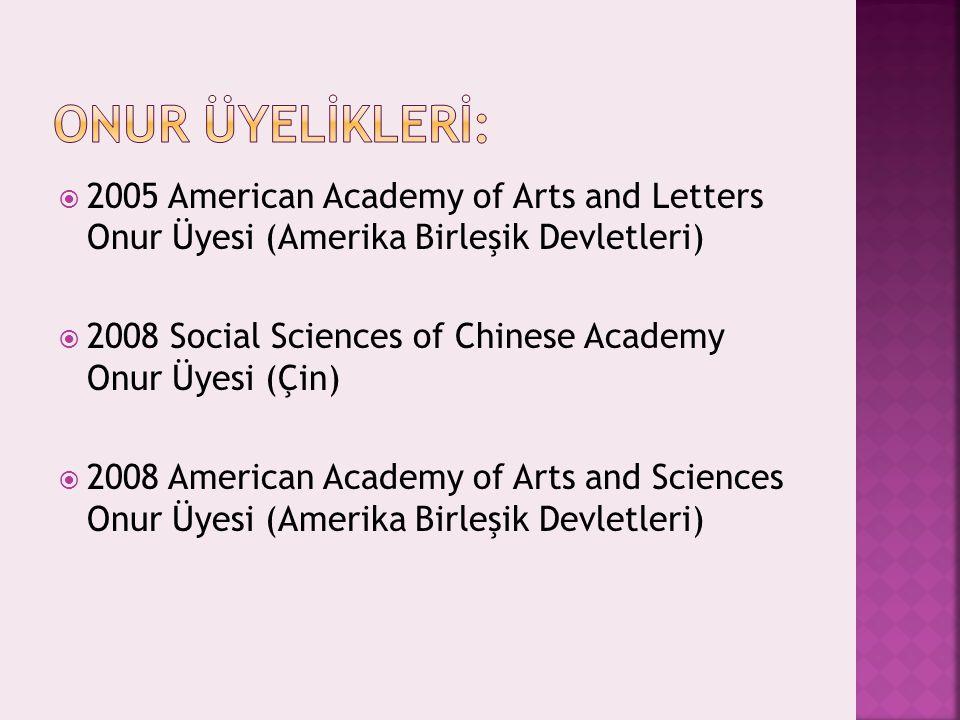 ONUR ÜYELİKLERİ: 2005 American Academy of Arts and Letters Onur Üyesi (Amerika Birleşik Devletleri)