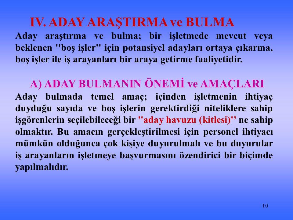 IV. ADAY ARAŞTIRMA ve BULMA