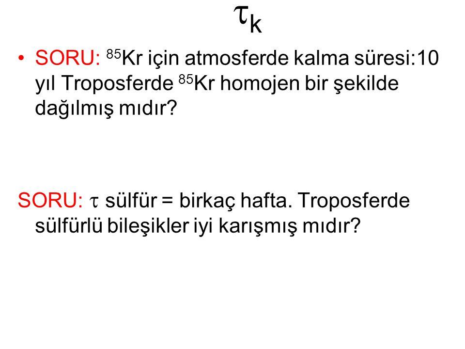 tk SORU: 85Kr için atmosferde kalma süresi:10 yıl Troposferde 85Kr homojen bir şekilde dağılmış mıdır
