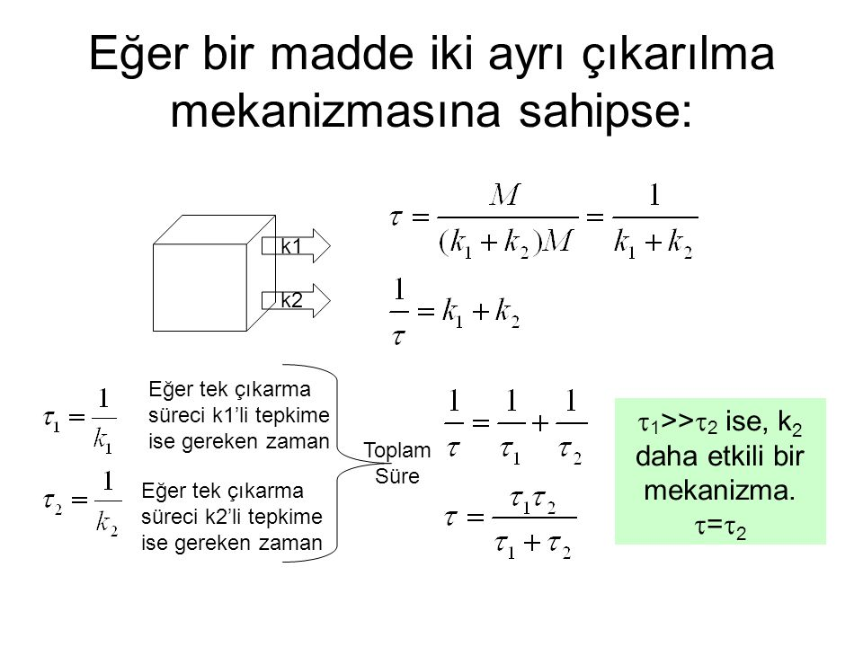 Eğer bir madde iki ayrı çıkarılma mekanizmasına sahipse: