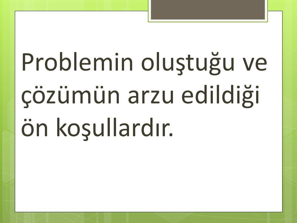 Problemin oluştuğu ve çözümün arzu edildiği ön koşullardır.
