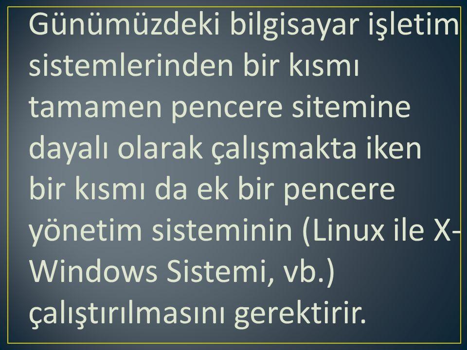 Günümüzdeki bilgisayar işletim sistemlerinden bir kısmı tamamen pencere sitemine dayalı olarak çalışmakta iken bir kısmı da ek bir pencere yönetim sisteminin (Linux ile X-Windows Sistemi, vb.) çalıştırılmasını gerektirir.