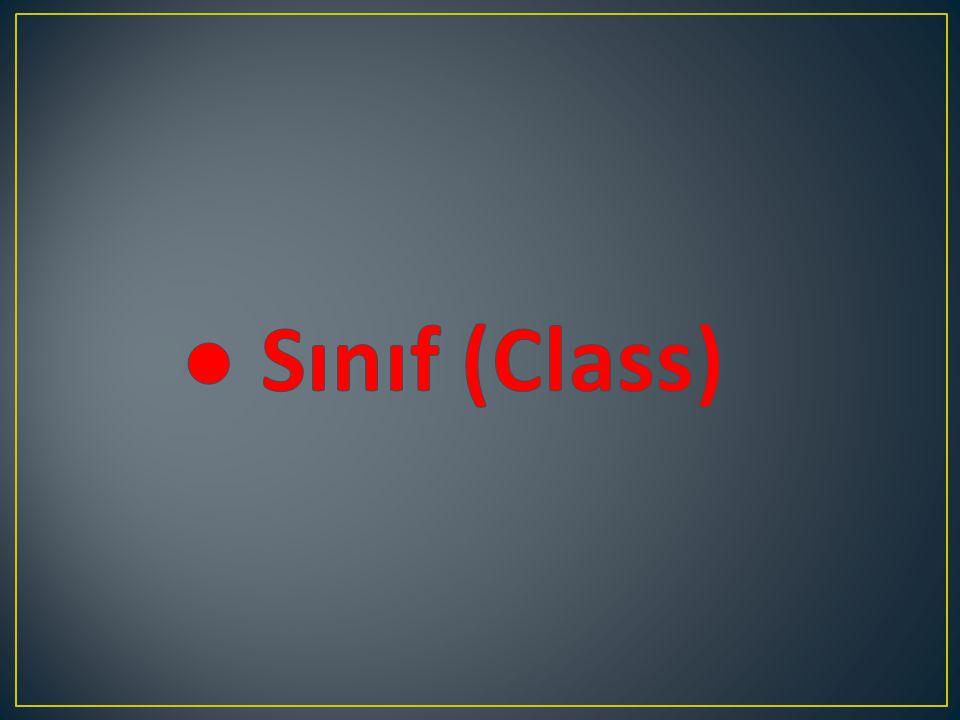 ● Sınıf (Class)