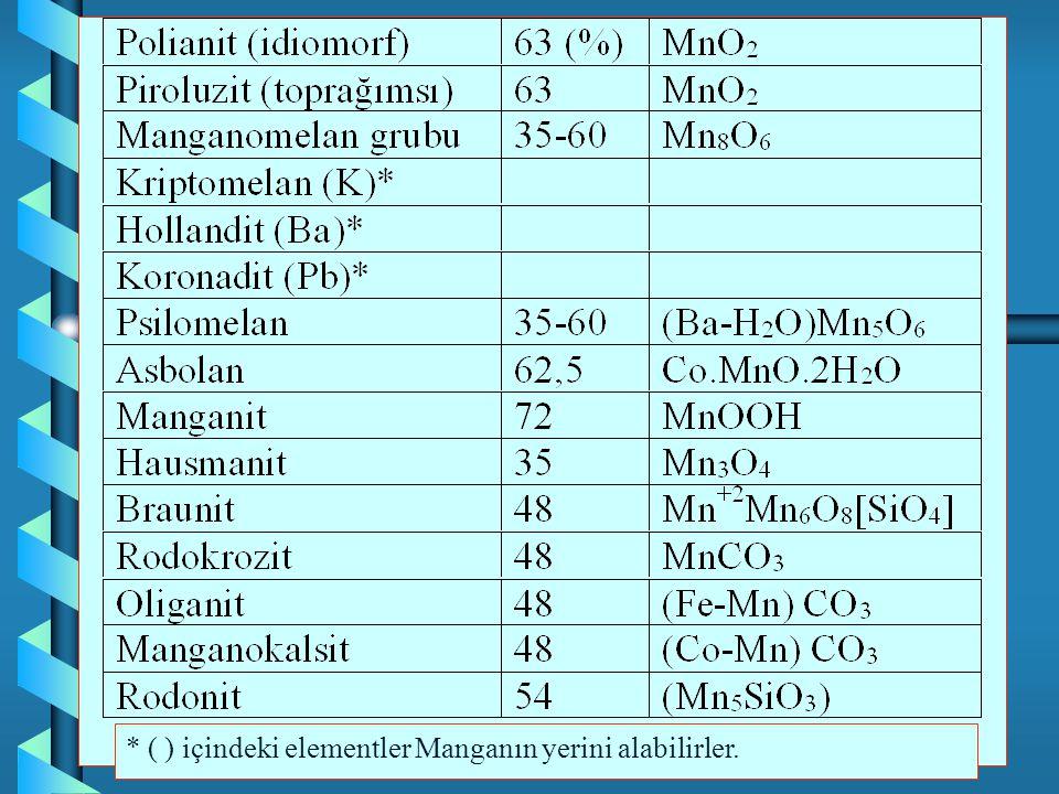 * ( ) içindeki elementler Manganın yerini alabilirler.