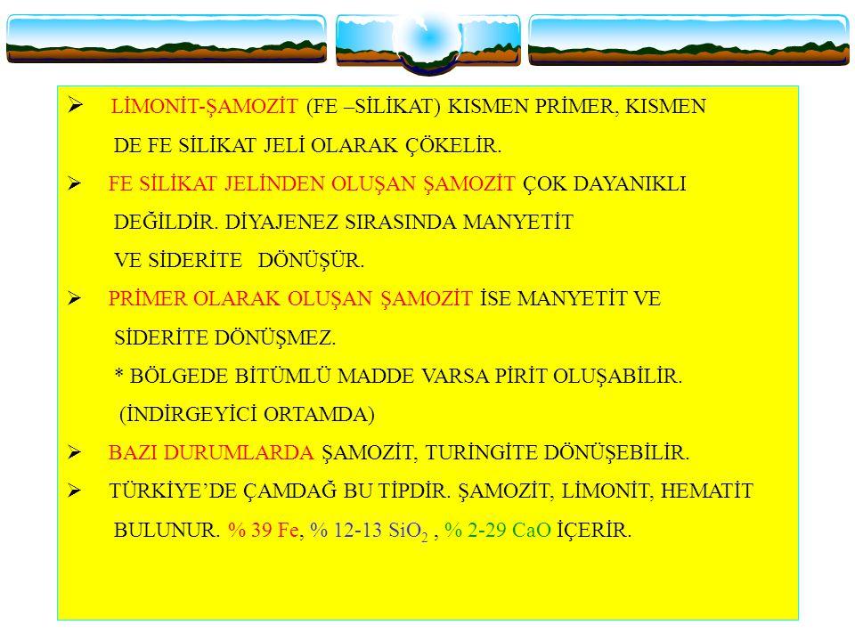 Ø LİMONİT-ŞAMOZİT (FE –SİLİKAT) KISMEN PRİMER, KISMEN