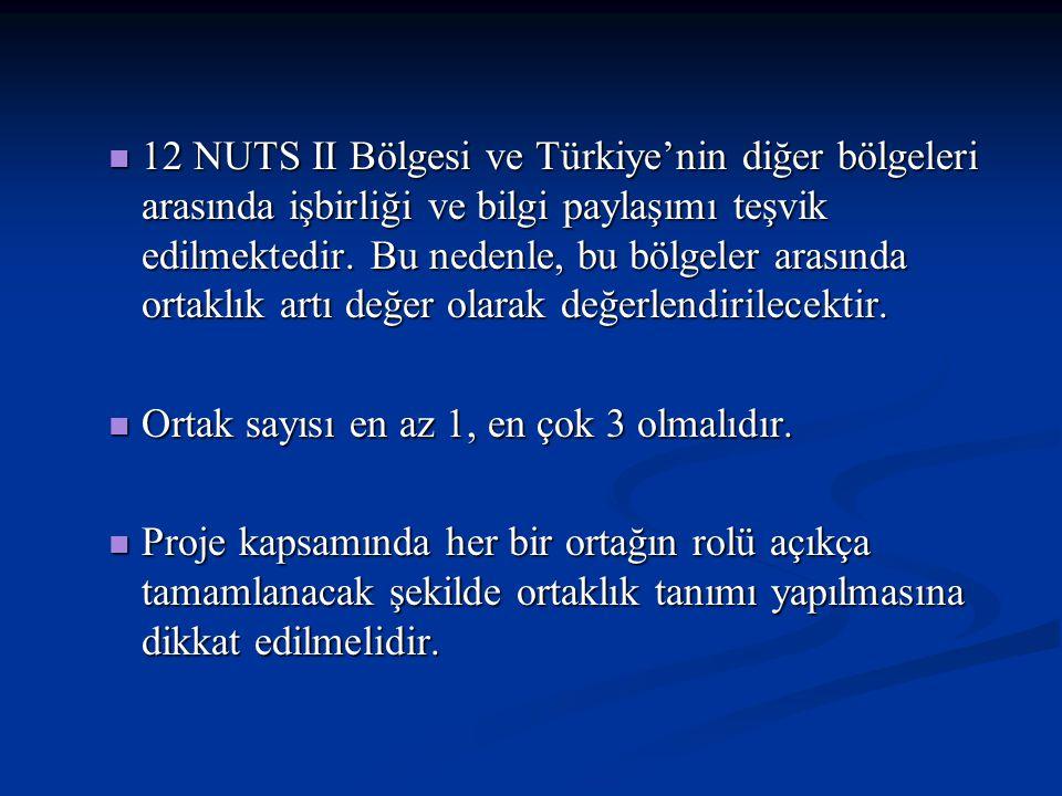 12 NUTS II Bölgesi ve Türkiye'nin diğer bölgeleri arasında işbirliği ve bilgi paylaşımı teşvik edilmektedir. Bu nedenle, bu bölgeler arasında ortaklık artı değer olarak değerlendirilecektir.