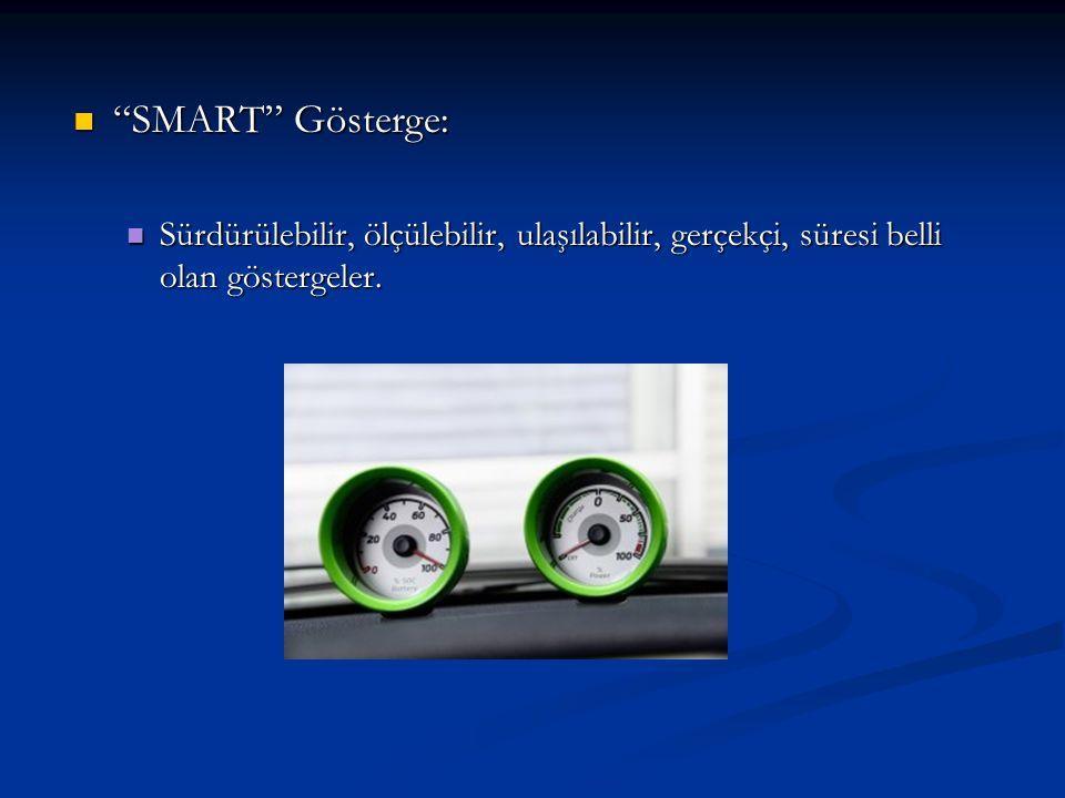 SMART Gösterge: Sürdürülebilir, ölçülebilir, ulaşılabilir, gerçekçi, süresi belli olan göstergeler.
