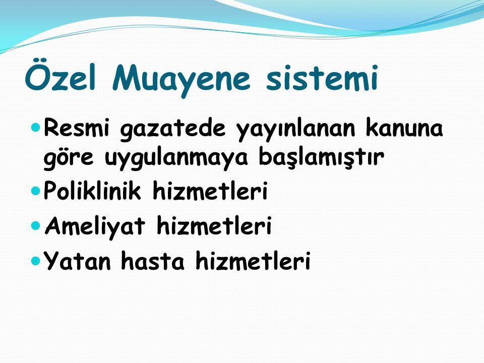 Özel Muayene sistemi Resmi gazatede yayınlanan kanuna göre uygulanmaya başlamıştır. Poliklinik hizmetleri.