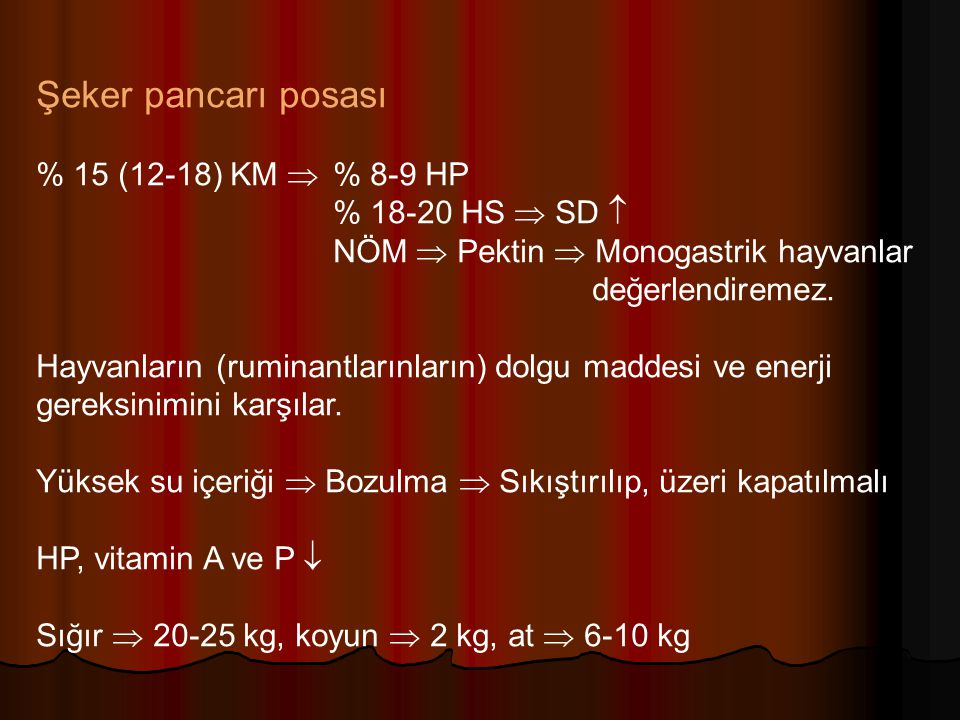 Şeker pancarı posası % 15 (12-18) KM  % 8-9 HP % 18-20 HS  SD 