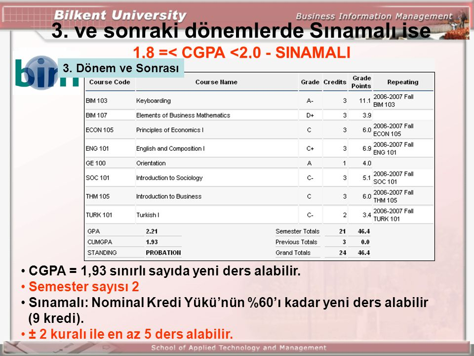 3. ve sonraki dönemlerde Sınamalı ise 1,8 =< CGPA <2,0 - SINAMALI