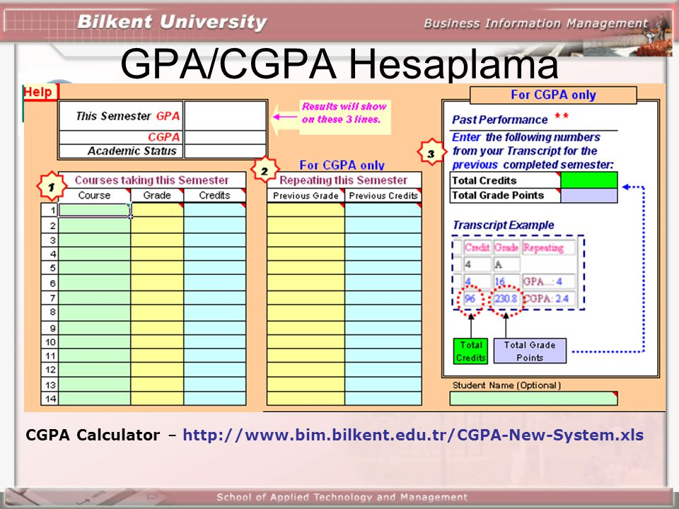 GPA/CGPA Hesaplama CGPA Calculator – http://www.bim.bilkent.edu.tr/CGPA-New-System.xls