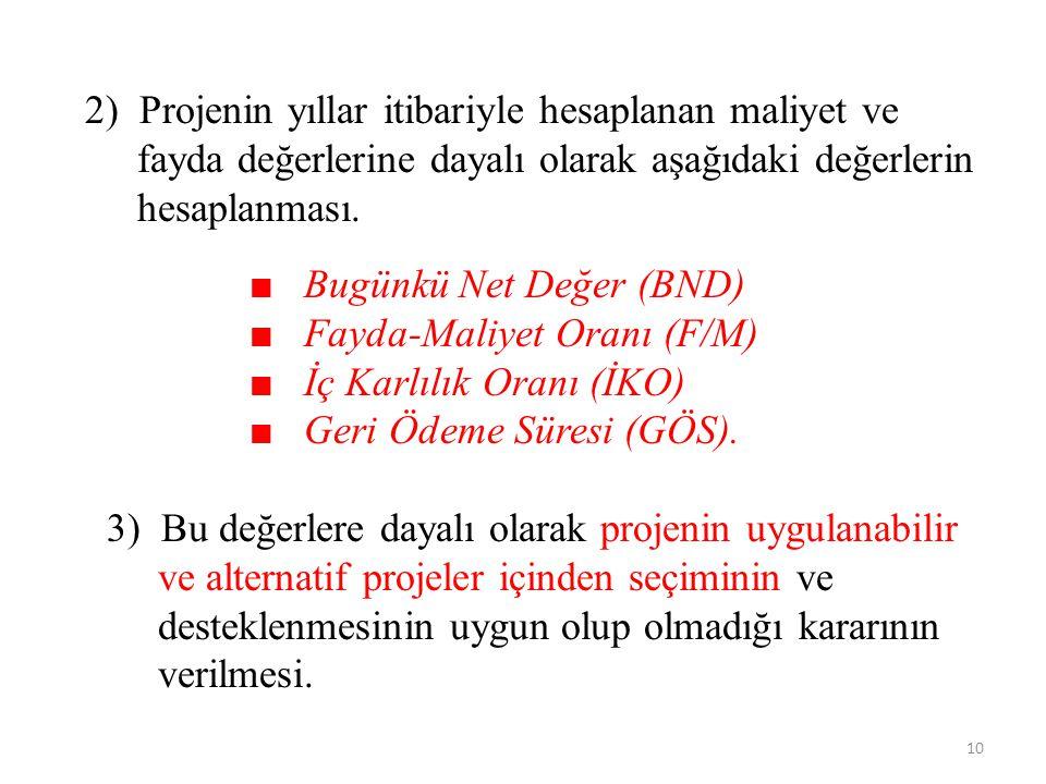 2) Projenin yıllar itibariyle hesaplanan maliyet ve fayda değerlerine dayalı olarak aşağıdaki değerlerin hesaplanması.