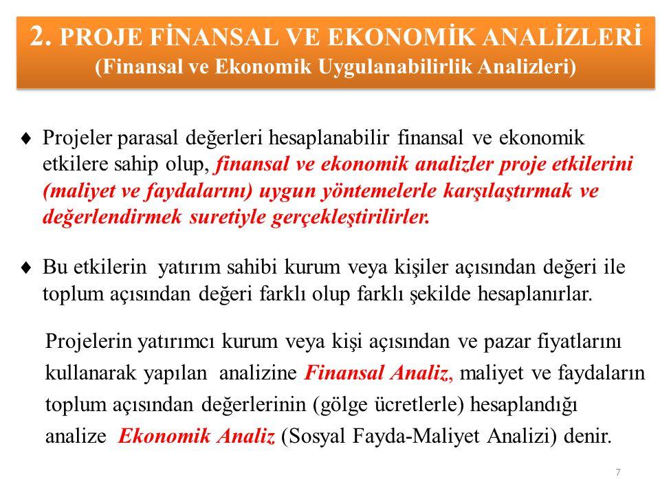 2. PROJE FİNANSAL VE EKONOMİK ANALİZLERİ (Finansal ve Ekonomik Uygulanabilirlik Analizleri)