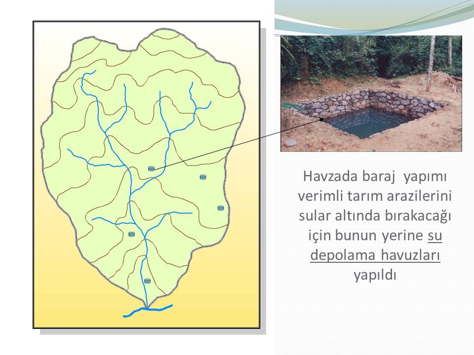 Havzada baraj yapımı verimli tarım arazilerini sular altında bırakacağı için bunun yerine su depolama havuzları yapıldı