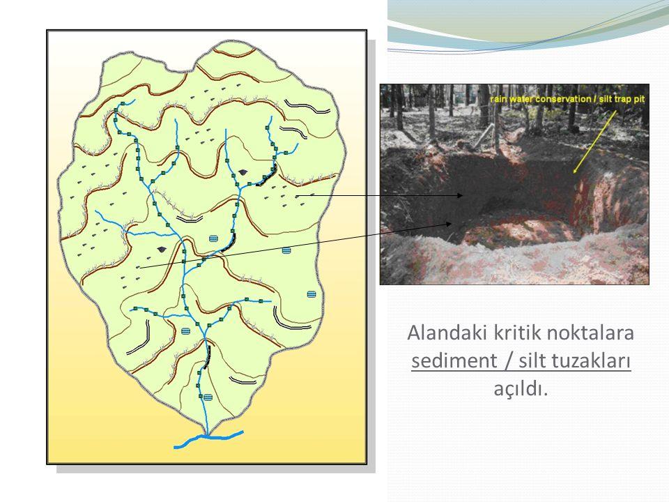 Alandaki kritik noktalara sediment / silt tuzakları açıldı.
