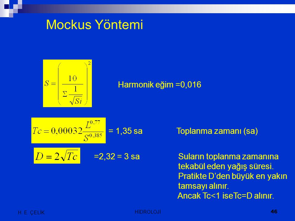 Mockus Yöntemi Harmonik eğim =0,016 = 1,35 sa Toplanma zamanı (sa)