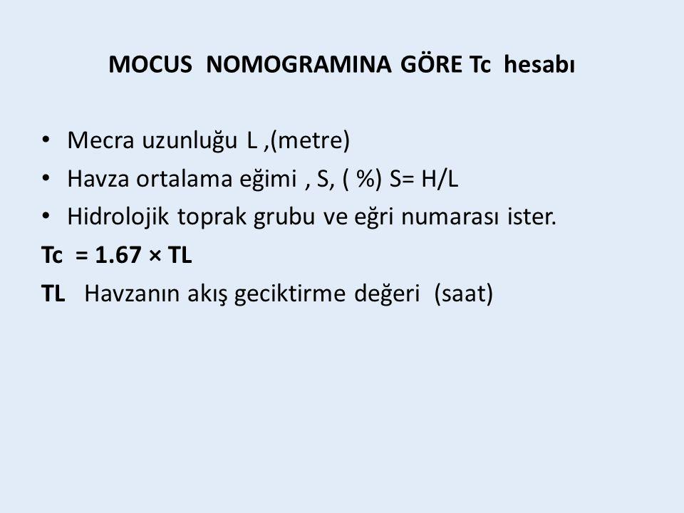 MOCUS NOMOGRAMINA GÖRE Tc hesabı