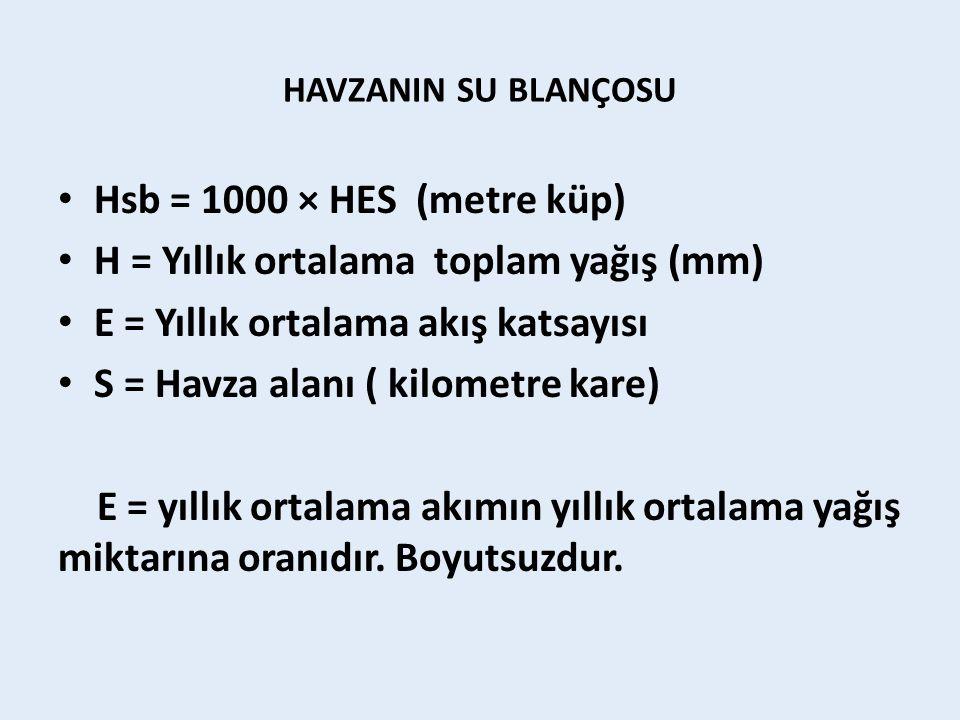 H = Yıllık ortalama toplam yağış (mm)