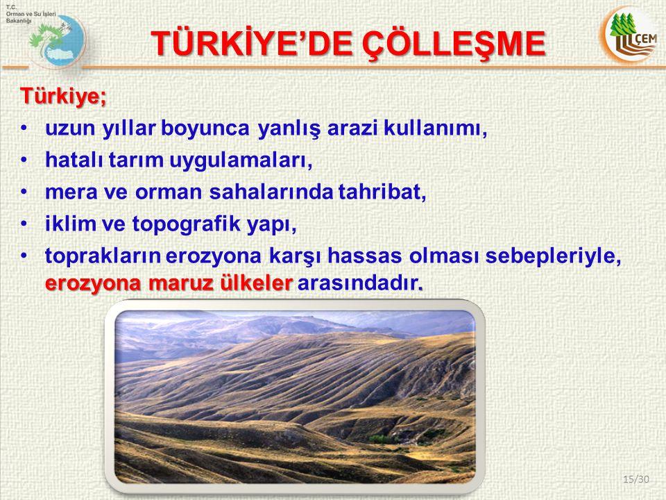 TÜRKİYE'DE ÇÖLLEŞME Türkiye;