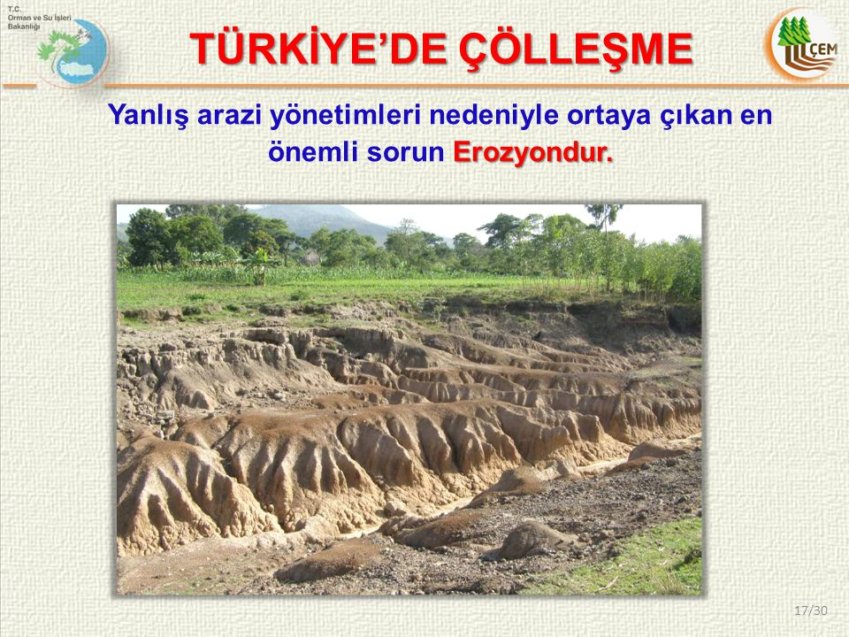 TÜRKİYE'DE ÇÖLLEŞME Yanlış arazi yönetimleri nedeniyle ortaya çıkan en önemli sorun Erozyondur.