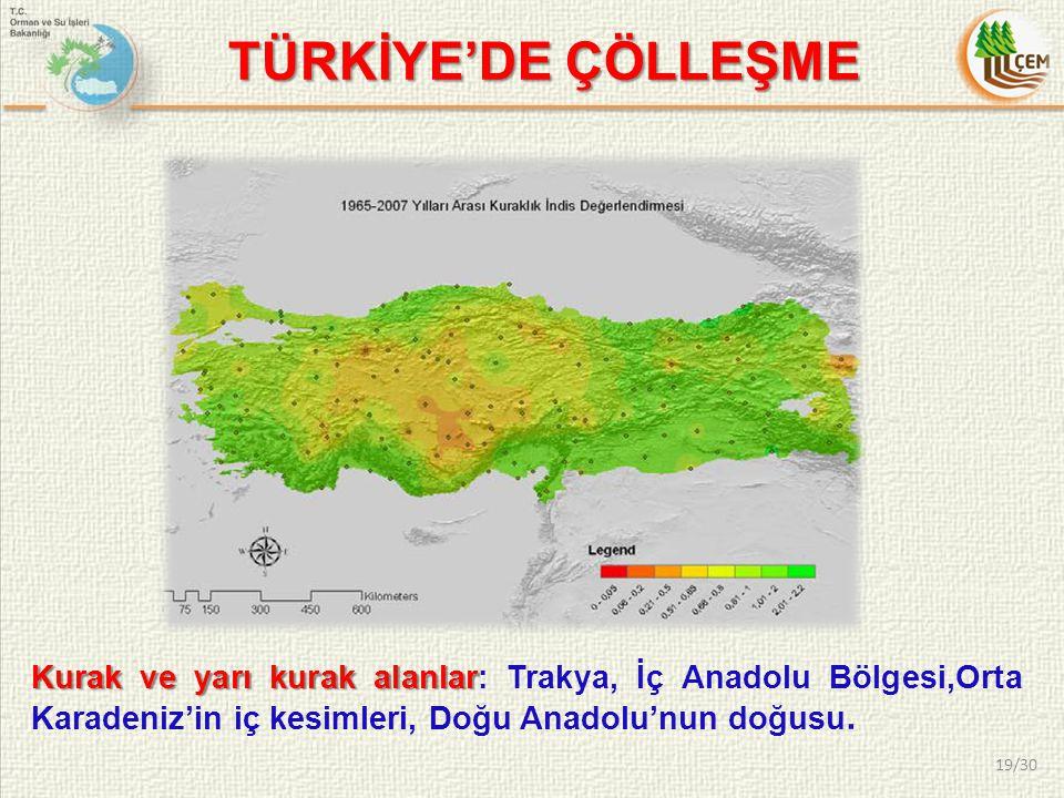 TÜRKİYE'DE ÇÖLLEŞME Kurak ve yarı kurak alanlar: Trakya, İç Anadolu Bölgesi,Orta Karadeniz'in iç kesimleri, Doğu Anadolu'nun doğusu.